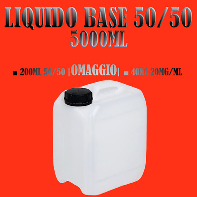 1000ml X 5pz | Liquido sigaretta elettronica 50|50 + 200ml + 4 shot 10ml/20mg
