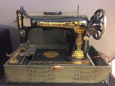 Antique 1910 Model 28 Electric Singer Sewing Machine, Egyptian Sphinx, w/ Case