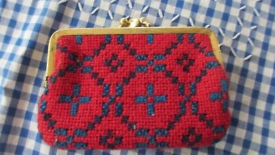 Genuine  Vintage Welsh Tapestry Coin Purse Traditional red & blue