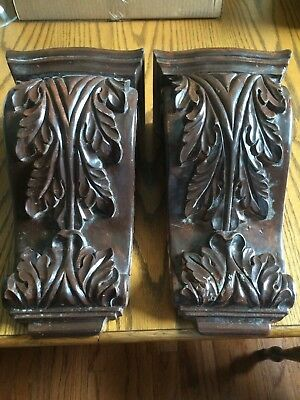 "large pair of beautiful wooden corbels 14.5x8x6"", dark stain"