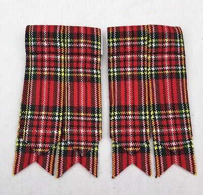 Men's Kilt Sock Flashes Royal Stewart Tartan/Scottish Highland Kilt Hose Flashes