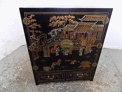 chinese cabinet,chinese,drawers,shelves,brass hinges,vintage,black,painted