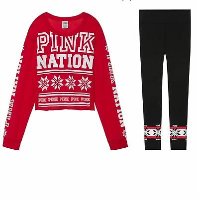 VICTORIA'S SECRET PINK NATION Holiday Tee Yoga Legging Set NEW S M L Great Gift