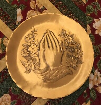 Wendell August Forge Praying Hands Solid Bronze Plate Mint Condition 8.75""