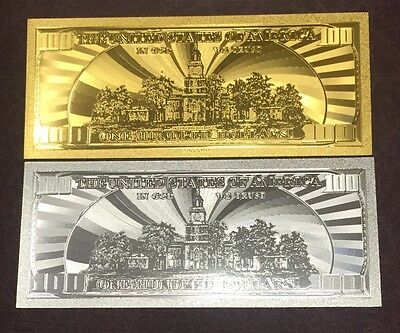 2 Pc Set $100 24k .999 Gold & .999 Silver U.S  One Hundred Dollar Bill Banknotes