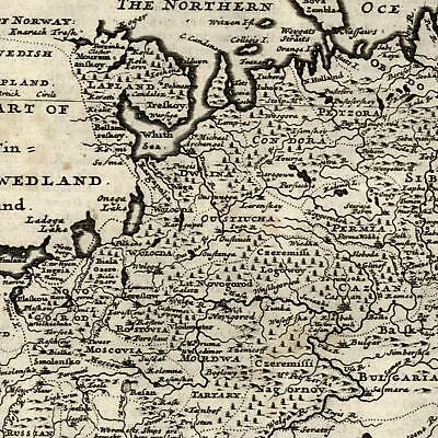 Muscovy Russia Poland 1709 Moll scarce old map Moscovia Great Tartary Astracan