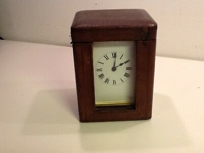 Antique French Brass Carriage Clock in Original Travelling Case