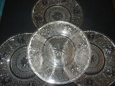 "LOT OF 4 Vintage INDIANA GLASS DINNER PLATES~SANDWICH PATTERN~10 3/8""~CLEAR~VGUC"
