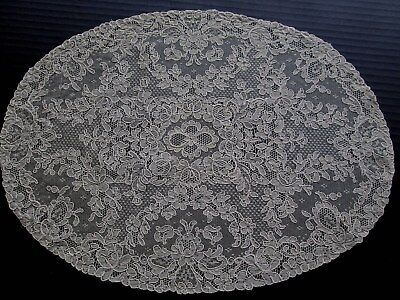 Antique/vintage French Alencon Lace Set Of 8 Oval Placemats...floral.. Soft Ecru