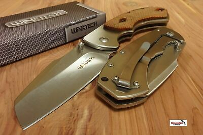"8"" WARTECH Silver Spring Assisted Open Folding Pocket Knife CLEAVER RAZOR Wood"