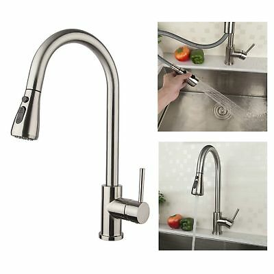 Modern Kitchen Sink Faucets High Arch Single Handle Pull Down Stainless Steel