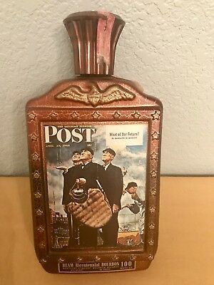 Vintage Bicentennial The Saturday Evening Post Norman Rockwell Jim Beam  Bottle