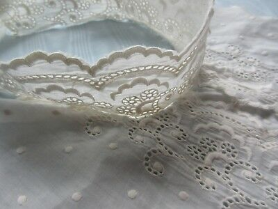 Antique Ayrshire Broderie Anglaise Embroidery Lace Dress Front Jabot/Collar