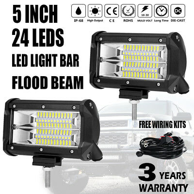 2x 5 inch 288W Flood LED Light Bar Offroad Boat Work Driving Fog Lamp 12V 24V 4""