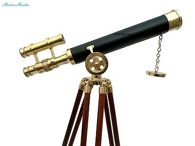 Marine Double Barrel Brass Shiny Ship Telescope With Nautical Brown Wooden Tripo