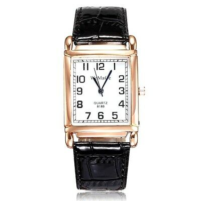Womens Classic Watch Square Shape Dial and Leather Band Wristwatch Ladies Analog