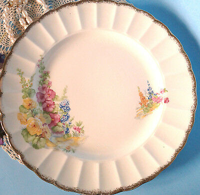 """SOVEREIGN POTTERS HOLLYHOCK c1930s Art Deco 10"""" Serving or Dinner Plate -Canada"""