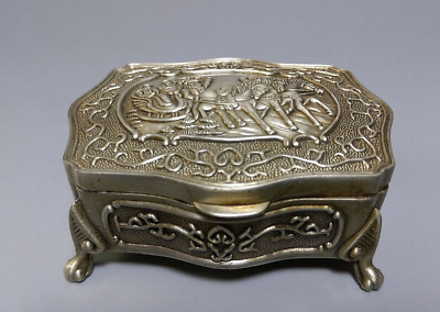 Chinese Old Miao Silver Carved Santa & Carriage For Ring & Jewelry Jewel Box
