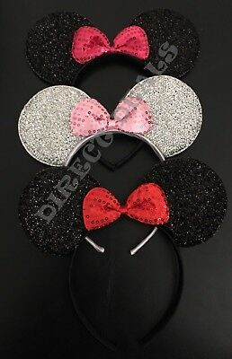 3 pc Minnie Mouse Ears Headband Sparkly Black Pink Bow Red Silver Adult Kid Cute