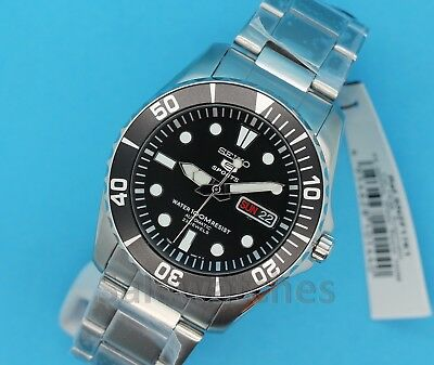 NWT Seiko 5 SNZF17K1 Sport Automatic 42mm Black Dial Stainless Steel Men's Watch