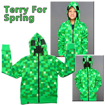 Kids Boys Youth Minecraft Creeper Hoodie Zip-Up Coat Sweater Jacket Sweatshirt