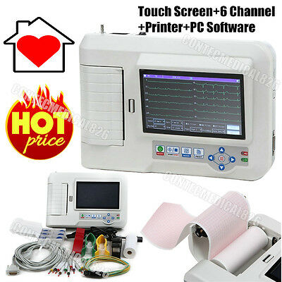 Color LCD Touch Digital 6-channel 12-lead Electrocardiograph ECG Machine EKG