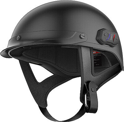Sena Matte Black Cavalry Bluetooth 4.1 Motorcycle Half Helmet Fm Radio Large