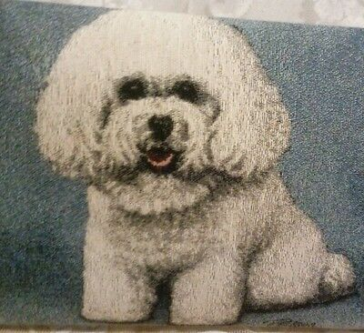 Bichon Frise Tapestry Style Foot Stool Metal Legs Artist Linda Picken New !
