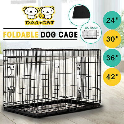 24'' 30'' 36'' 42'' Collapsible Dog Cage Folding Pet Kennel Puppy Crate W/Tray