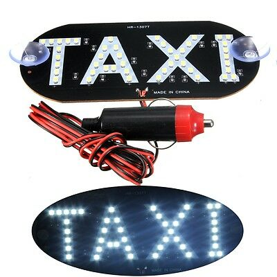 Car White LED Cab Taxi Roof Sign Light 12V Vehical Inside Windscreen Lamp