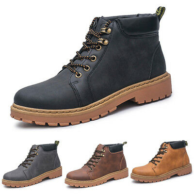 Mens Leather Waterproof Work Martin Boots Ankle High Top Casual Shoes Winter