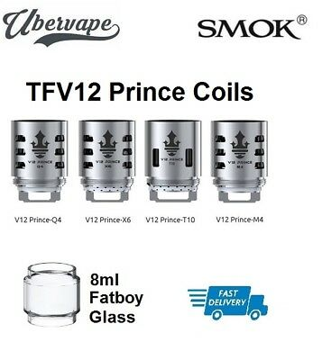 SMOK TFV12 Prince Coils (M4,Q4, X6, T10, RBA Kit Deck) or Fat Boy Bubble Glass