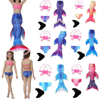 Mermaid Tail Monofin Swimmable Tail Kids Girls Women Swimming Costumes AU STOCK