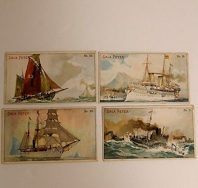 Lot of 4 GALA PETER Milk Chocolate Trading Cards Colorful Yacht  Ship  Torpedo