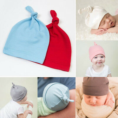 New Cotton Beanie Newborn Baby Knotted Hat Boys Girls Soft Cap Infant Toddle FR