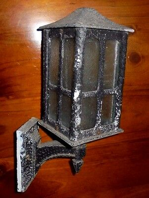 Vintage wrought iron lantern wall light ~ Old style with frosted glass ~Can post