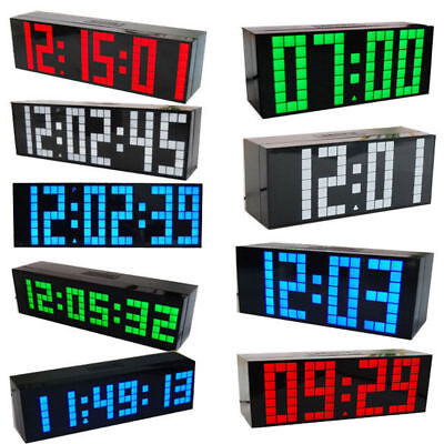 LED Digital Number Jumbo Snooze Room Wall Calendar Alarm Electronic Clock 8 Type
