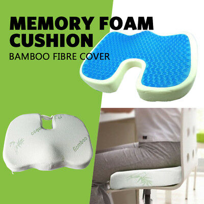 Coccyx Chair Seat Memory Foam Cushion Cooling Gel Bamboo Foam Support Spine