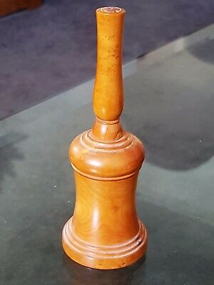 Vintage Old Turned Fruitwood Hand Bell Shaped Pepper Pot Castor