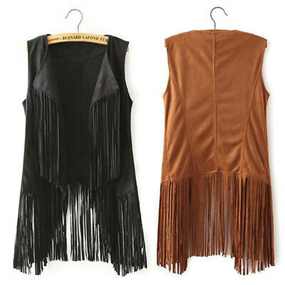 Womens Faux Suede Fringed Vest Look Waterfall Tassel Cowboy Waistcoats Jackets