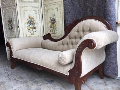 Mahogany Carved Double Ended Button Back Chaise Longue .. Newly Upholstered