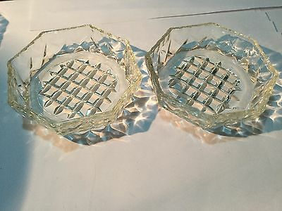 Vintage Cut Glass Dishes - Set of Two