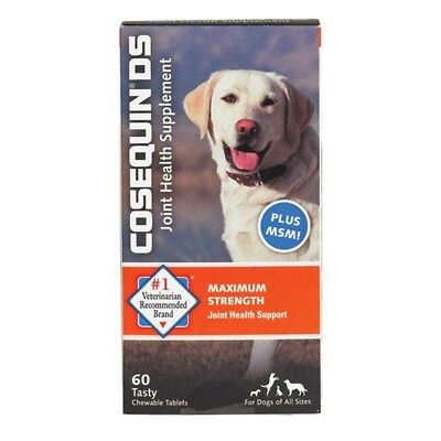 COSEQUIN DS Plus MSM For Dogs (60 Chewable Tablets) by Nutramax FRESH!