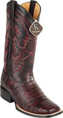 7695c071b48 MEN'S KING EXOTIC Genuine Smooth Caiman Western Boots Wide Square Toe  Handmade