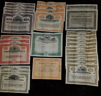 LOT OF 29 VINTAGE MISC STOCK CERTIFICATES 1920's & 1930's
