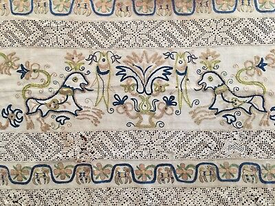 Rare Antique Greek Silk Hand Embroidery On Linen