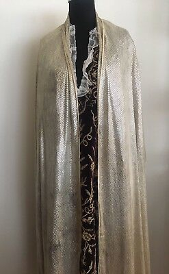 Antique Egyptian Assuit Net Heavily Silver Embroidered Shawl  290cm*70cm