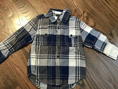 Baby Gap Toddler Boy 4 Yrs Blue+Gray Plaid w/ Roll up Thermal Long Sleeve Winter
