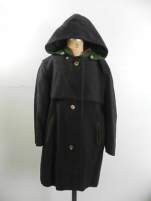 SW- Vintage Girls German Loden Frey Gray Wool Coat w/ Hood Antler Buttons sz 6