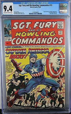Sgt. Fury #13 Cgc 9.4 Nm Captain America & Bucky Meet Nick Fury